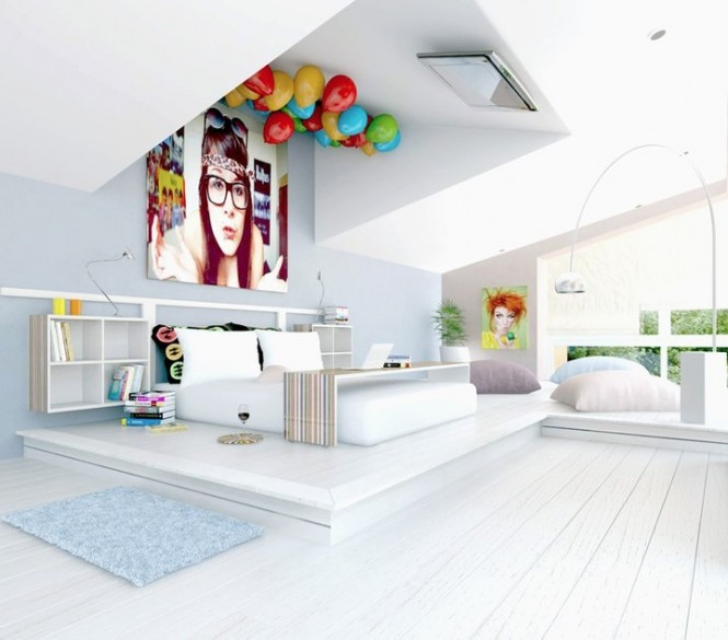 7-white-fun-bedroom-tv-on-ceiling-665x585