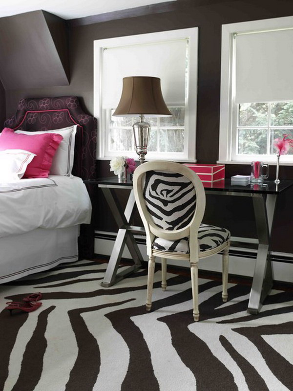 Contemporary-Teen-Bedroom-Design-with-Zebra-Color-Theme-for-Carpets-and-Chair