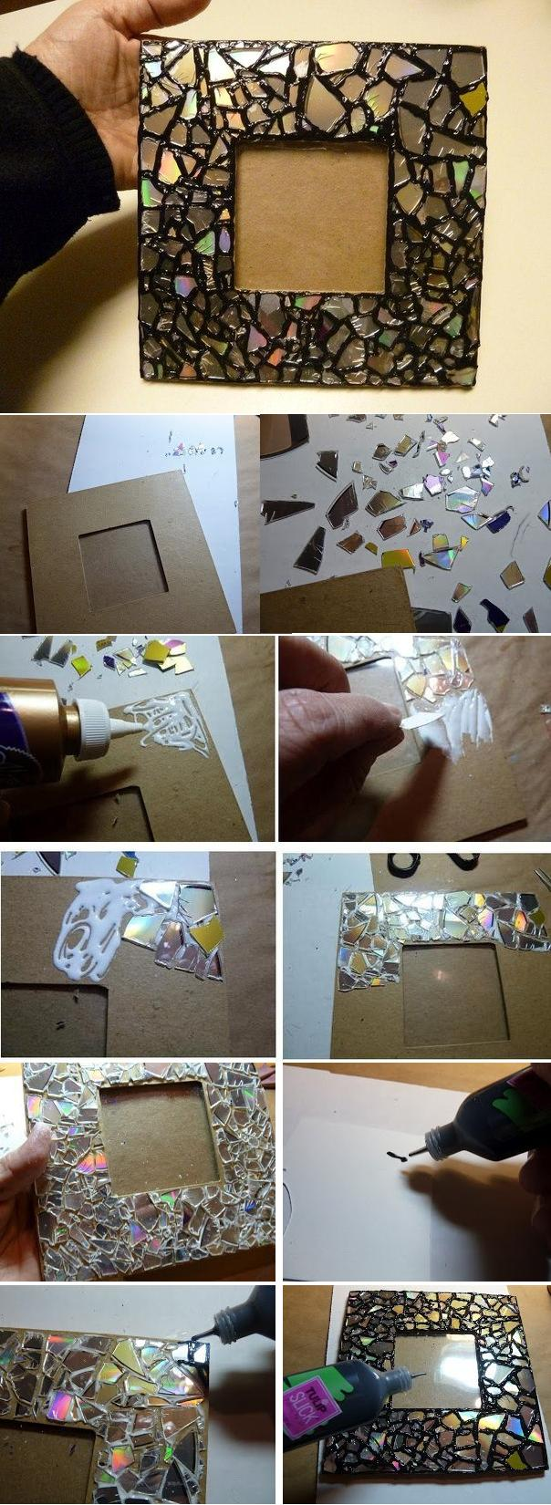 DIY-Old-CD-Mosaic-Mirror-Frame