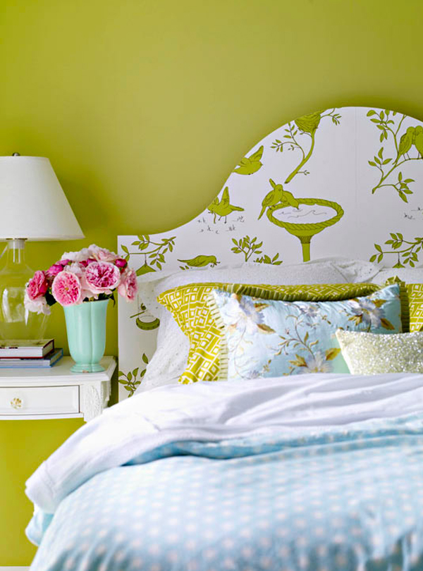 DIY-headboard-covered-with-wallpaper