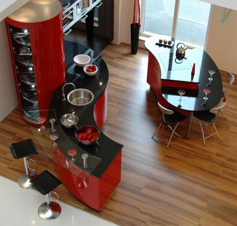 Unique-Modern-Black-And-Red-Kitchen-Interior-Decorating-With-Curved-Tables