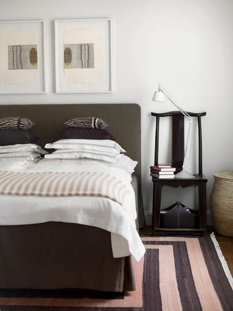 bedroom worn in striped rug