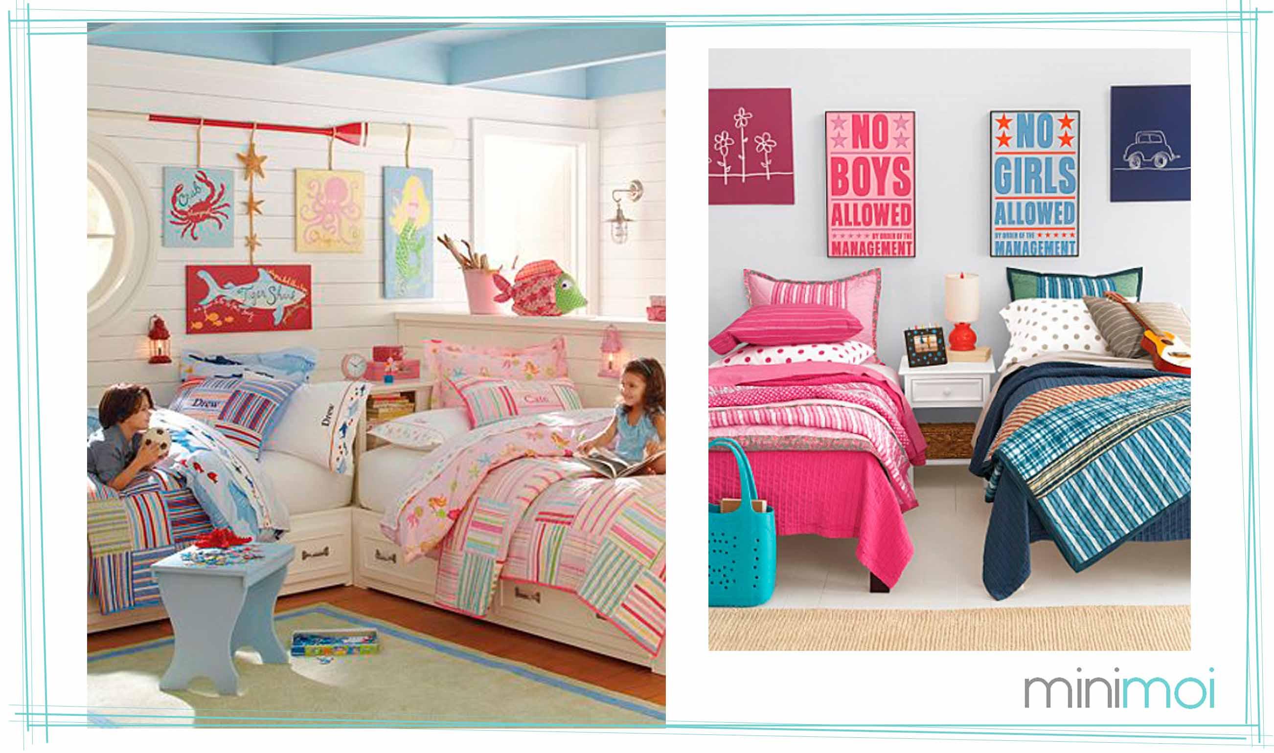 Olvas i k rd s testv rek egy szob ban dettydesign for Ideas para decorar habitacion compartida nino nina