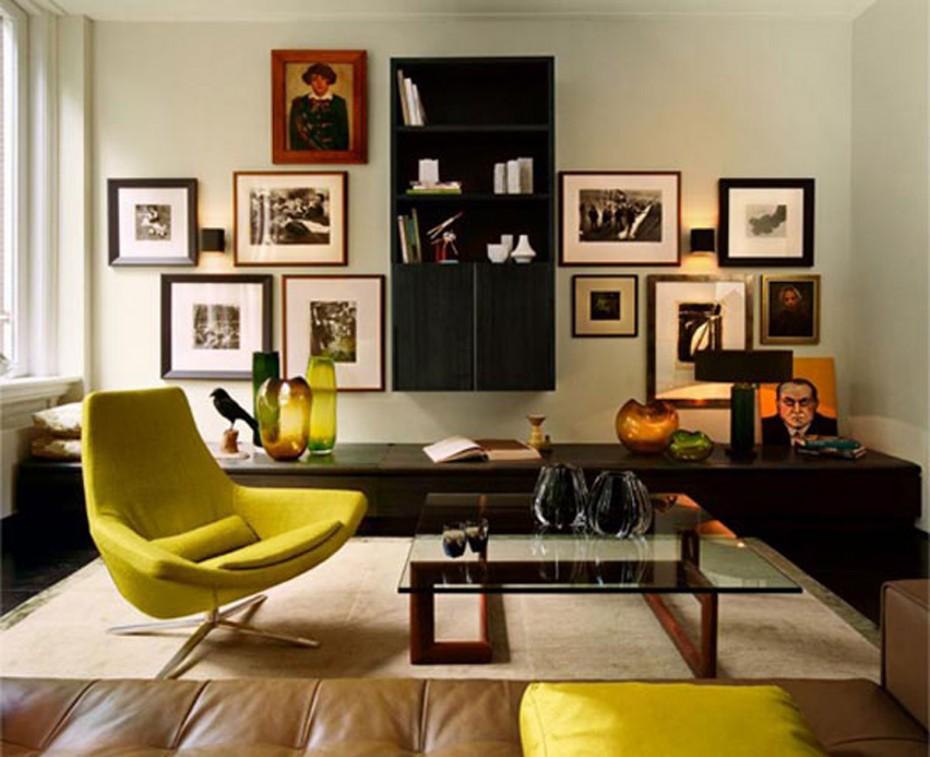 livingroom-interior-contemporary-yellow-around-chair-with-clear-glass-top-coffee-table-on-cream-living-carpet-also-brown-leather-sofas-as-well-as-cool-portray-at-grey-wall-painted-in-modern-apartment-930x757