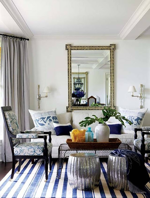 striped rug brings it down a notch